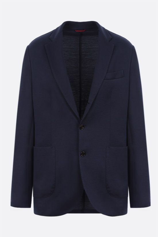 BRUNELLO CUCINELLI: single-breasted silk cotton blend jacket Color Blue_1