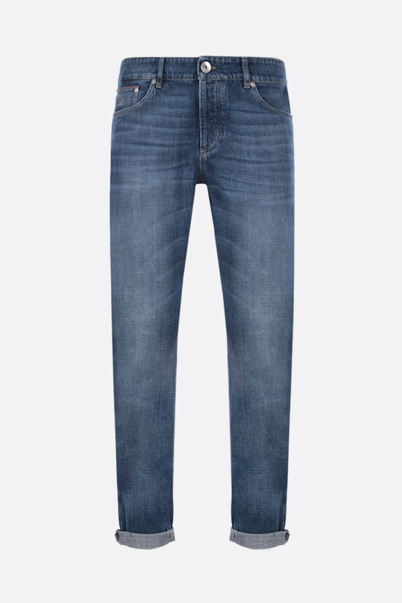 BRUNELLO CUCINELLI: lightweigth cotton traditional-fit jeans Color Blue_1