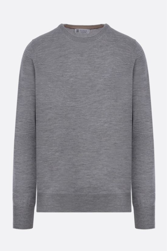BRUNELLO CUCINELLI: wool cashmere blend pullover Color Grey_1