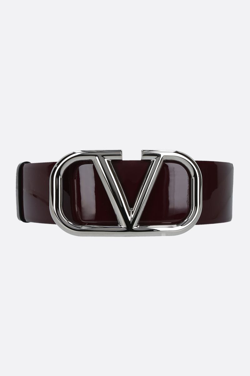 VALENTINO GARAVANI: VLOGO patent leather belt Color Red_1