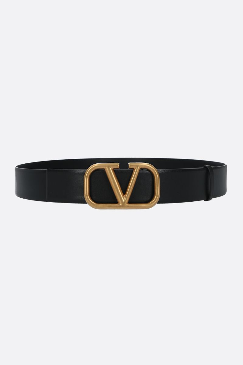 VALENTINO GARAVANI: VLOGO smooth leather belt Color Black_1
