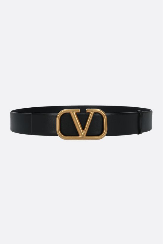 VALENTINO GARAVANI: VLOGO Signature smooth leather belt Color Black_1