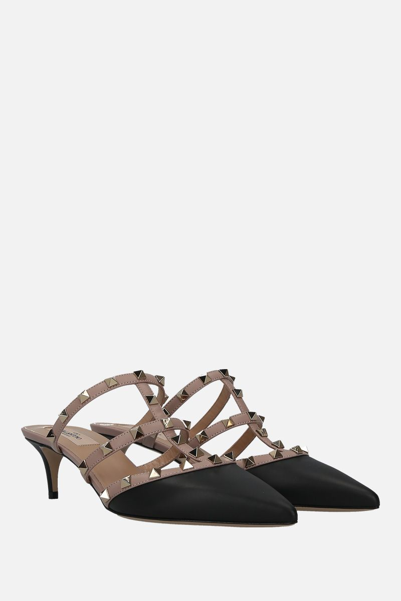 VALENTINO GARAVANI: Rockstud mules in smooth leather Color Black_2
