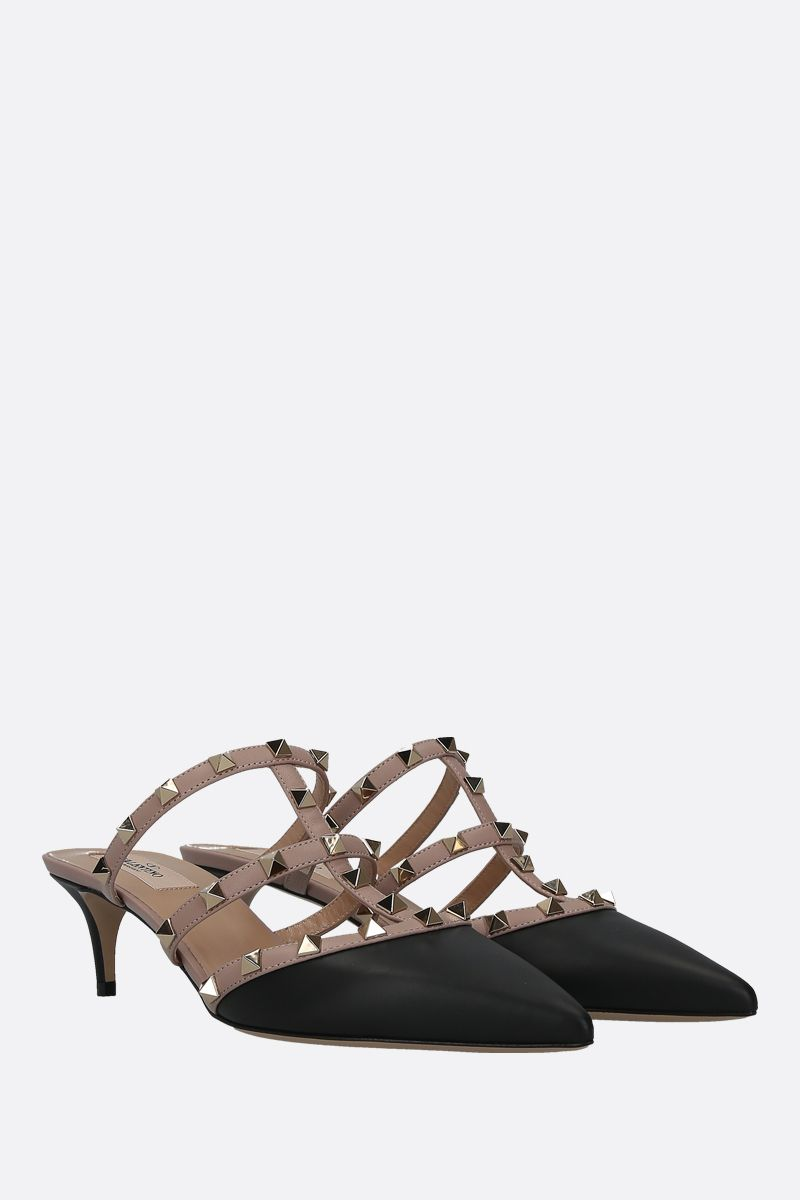 VALENTINO GARAVANI: Rockstud smooth leather mules Color Black_2