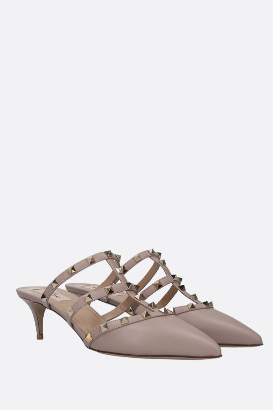 VALENTINO GARAVANI: Rockstud smooth leather mules Color Neutral_2