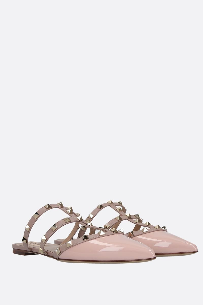 VALENTINO GARAVANI: Rockstud slippers in smooth and patent leather Color Pink_2