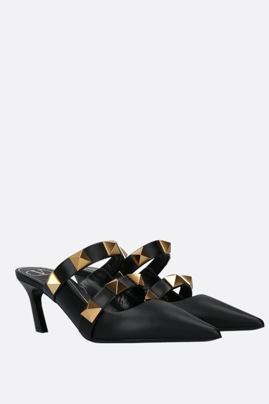 VALENTINO GARAVANI: Roman Stud smooth leather mules Color Black_2