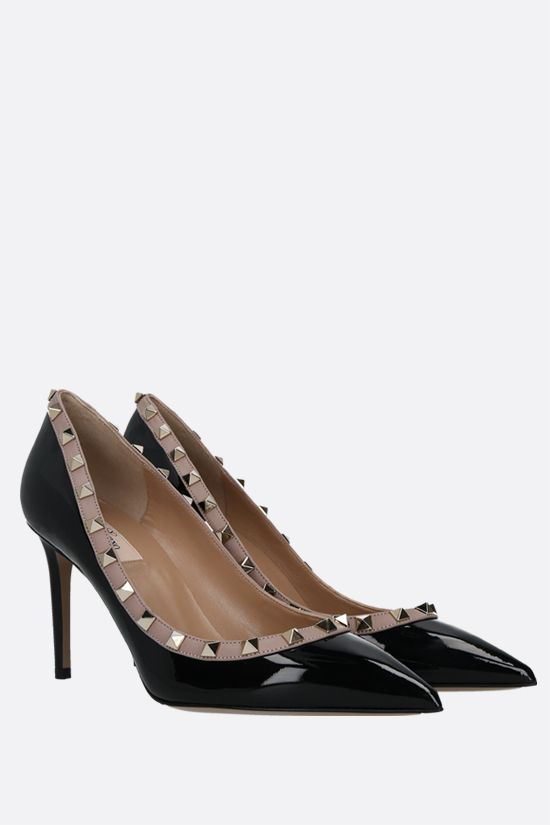 VALENTINO GARAVANI: Rockstud patent leather pumps Color Black_2