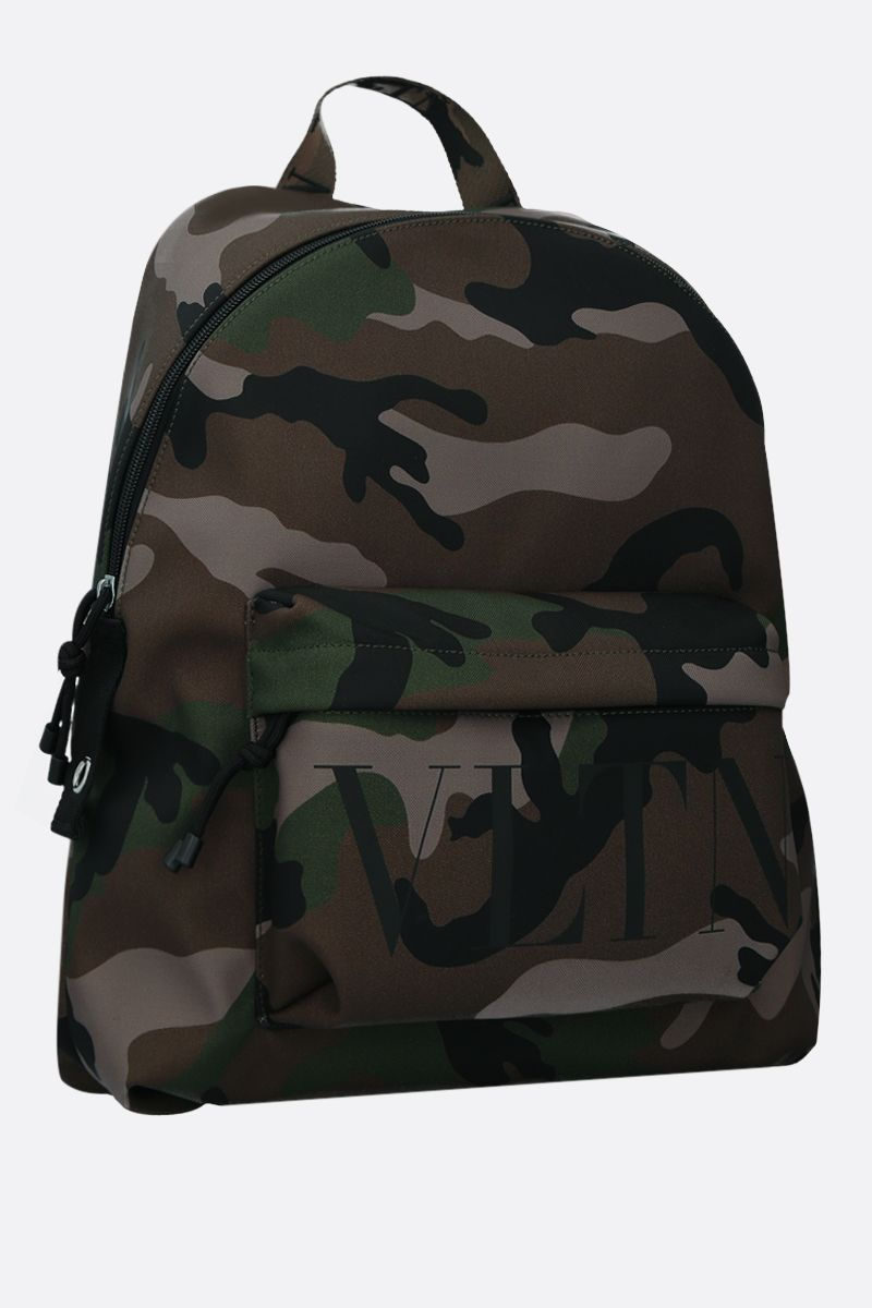 VALENTINO GARAVANI: VLTN camouflage print nylon backpack Color Green_2