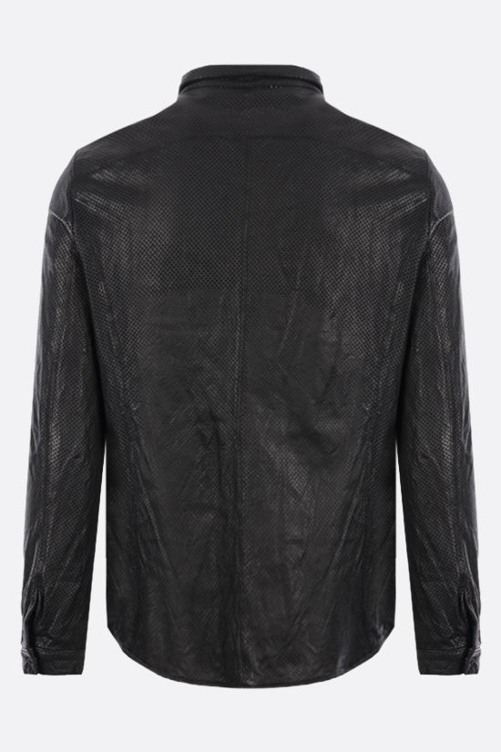 GIORGIO BRATO: perforated leather overshirt Color Black_2