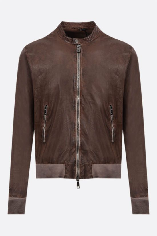 GIORGIO BRATO: crinkled-effect leather bomber jacket Color Brown_1