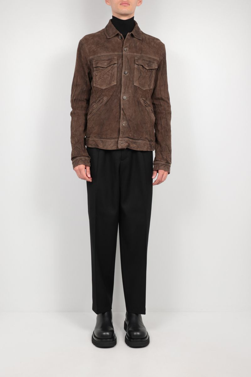 GIORGIO BRATO: crinkled-effect leather overshirt Color Grey_2