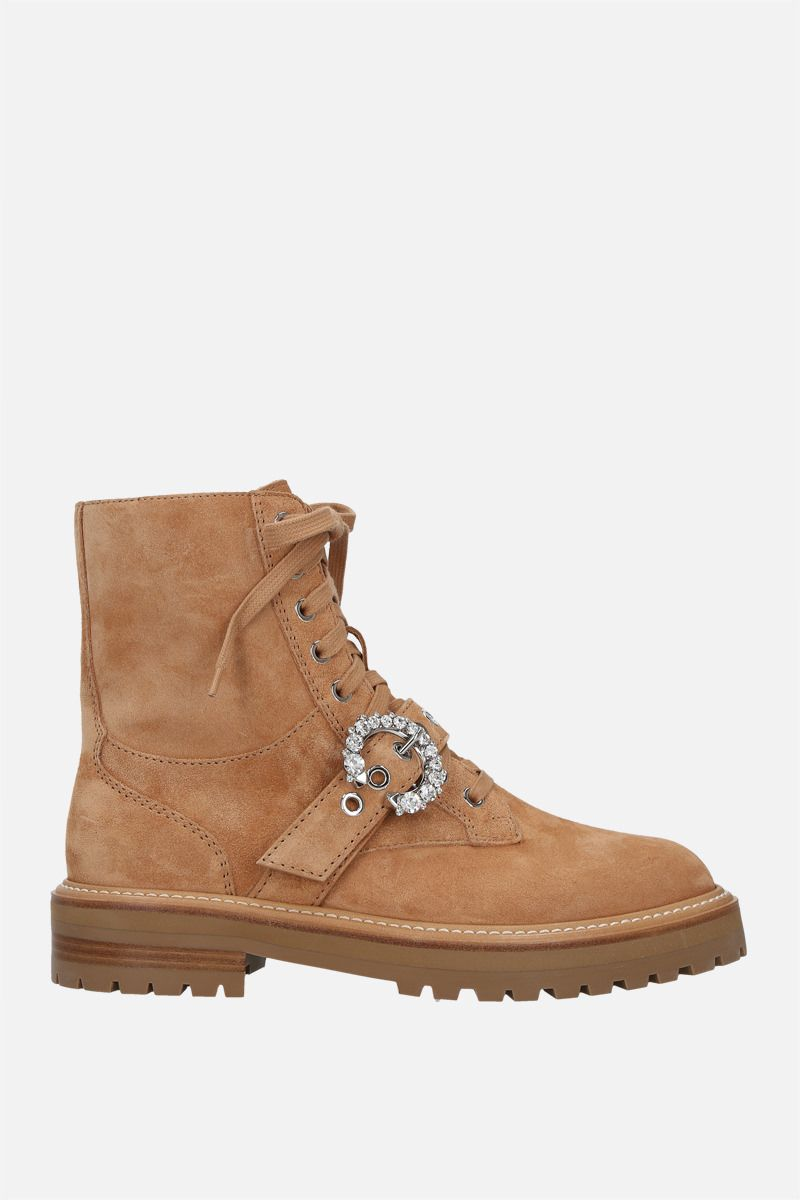 JIMMY CHOO: Cora suede combat boots Color Brown_1