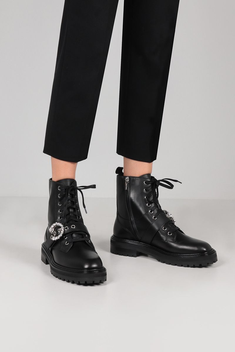 JIMMY CHOO: Cora smooth leather combat boots Color Black_2