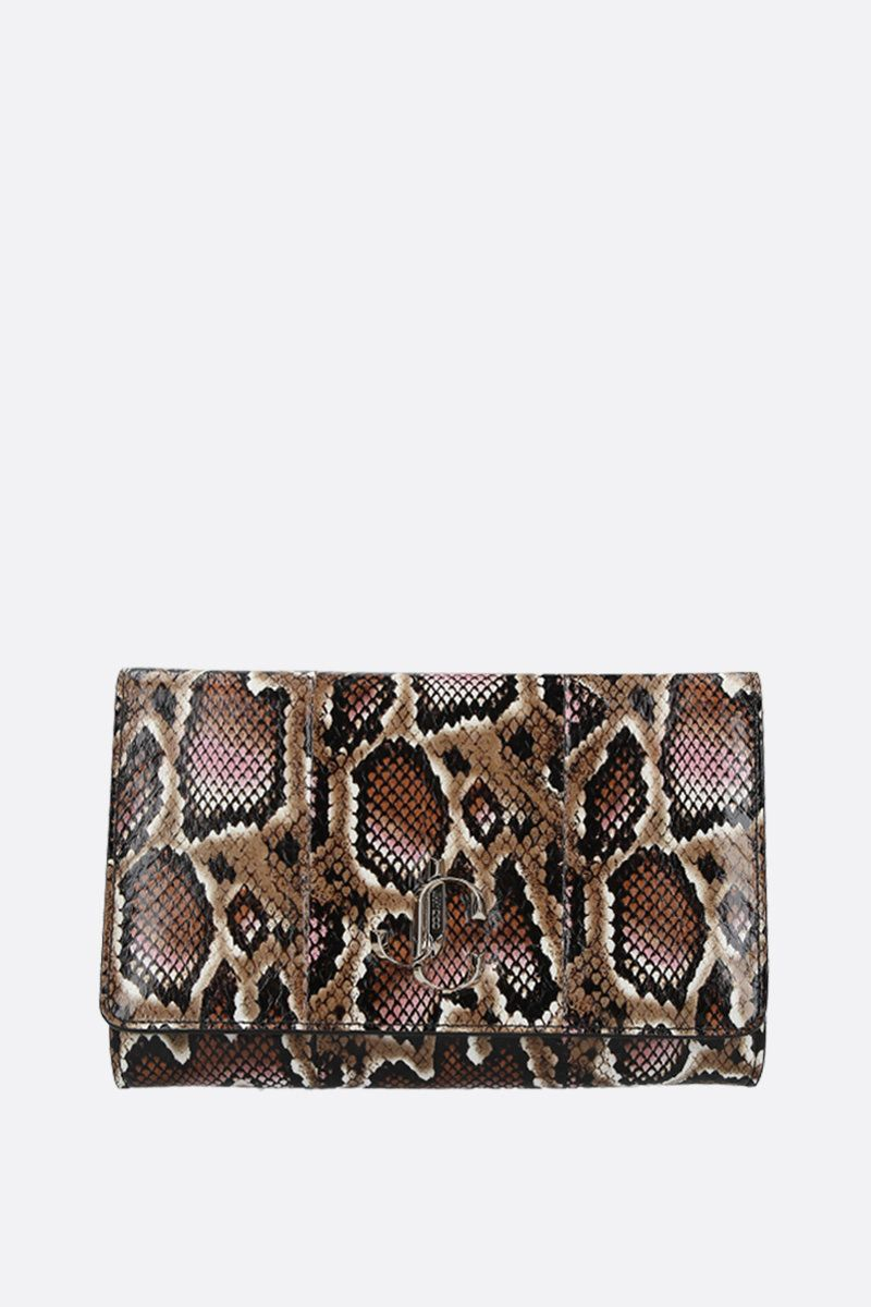 JIMMY CHOO: Varenne elaphe-embossed leather chain clutch Color Brown_1