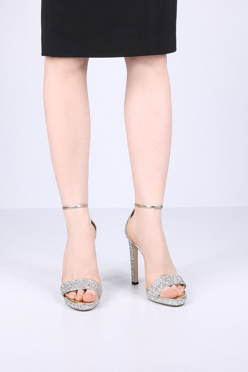 JIMMY CHOO: Misty platform sandals in glitter fabric Color Neutral_2
