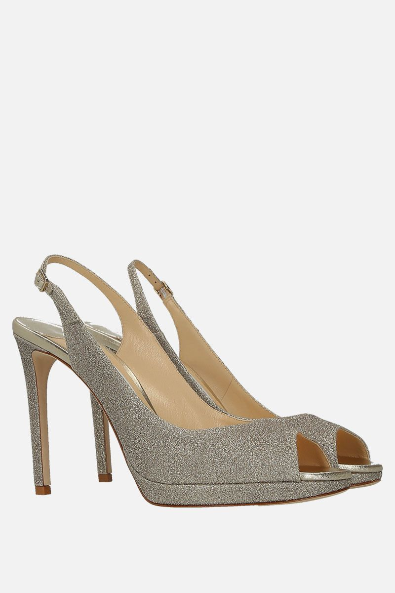 JIMMY CHOO: Nova platform sandals in glitter fabric Color Silver_2