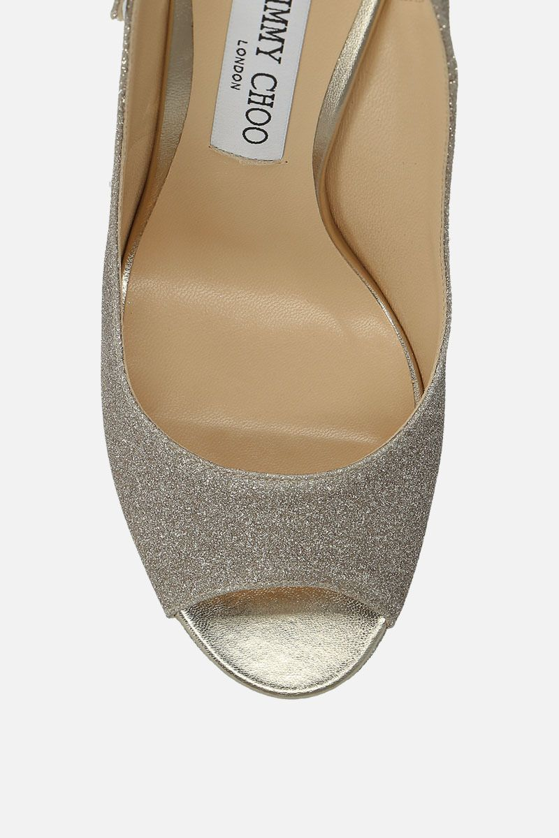 JIMMY CHOO: Nova platform sandals in glitter fabric Color Gold_4