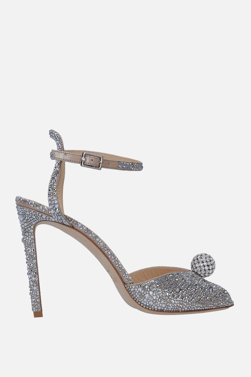 JIMMY CHOO: Sacora sandals in crystal-embellished suede Color Silver_1