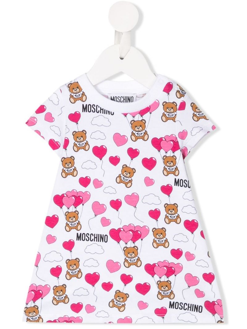 MOSCHINO KIDS: Heart Balloons Teddy Bear jersey A-line dress Color White_1