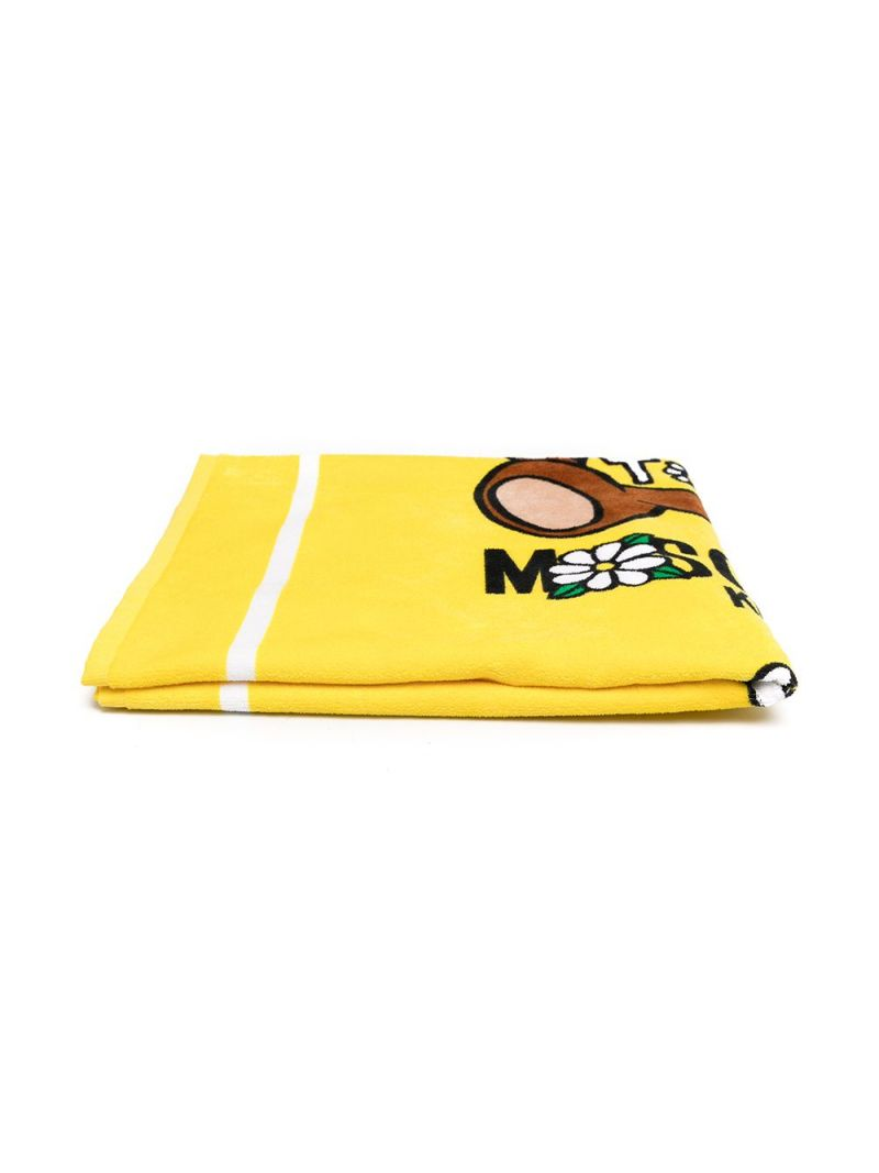 MOSCHINO KIDS: Daisy Teddy Bear terrycloth beach towel Color Yellow_1