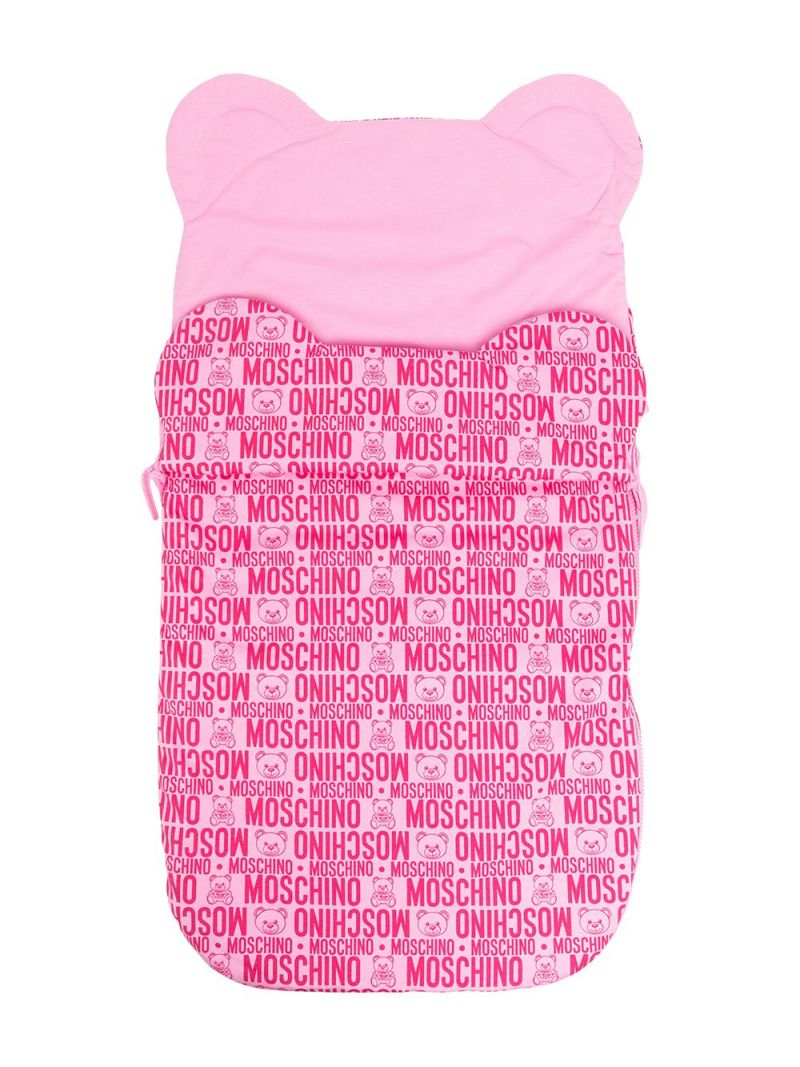 MOSCHINO KIDS: logo print cotton padded sleeping bag Color Purple_1