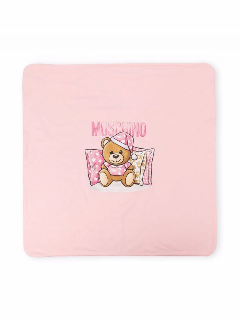MOSCHINO KIDS: Teddy Bear print stretch cotton blanket Color White_1
