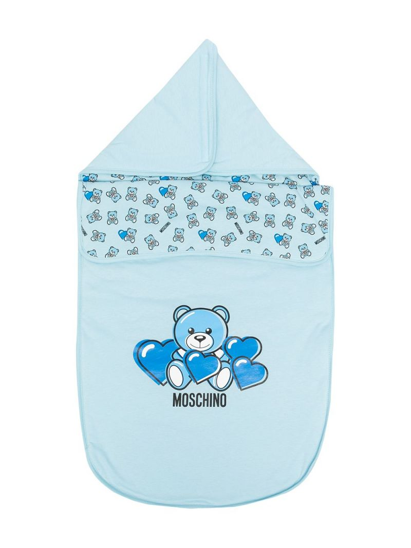 MOSCHINO KIDS: Moschino Teddy Bear print cotton sleeping bag Color Blue_1