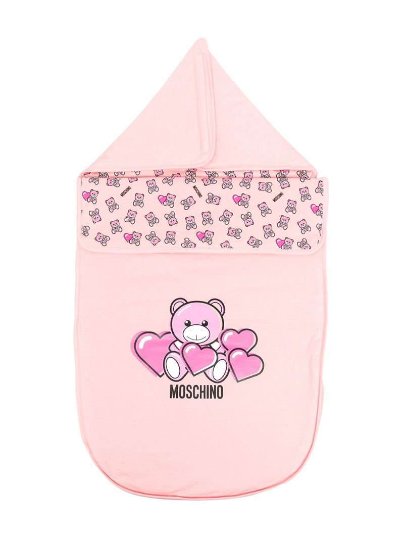 MOSCHINO KIDS: Moschino Teddy Bear print cotton sleeping bag Color Pink_1