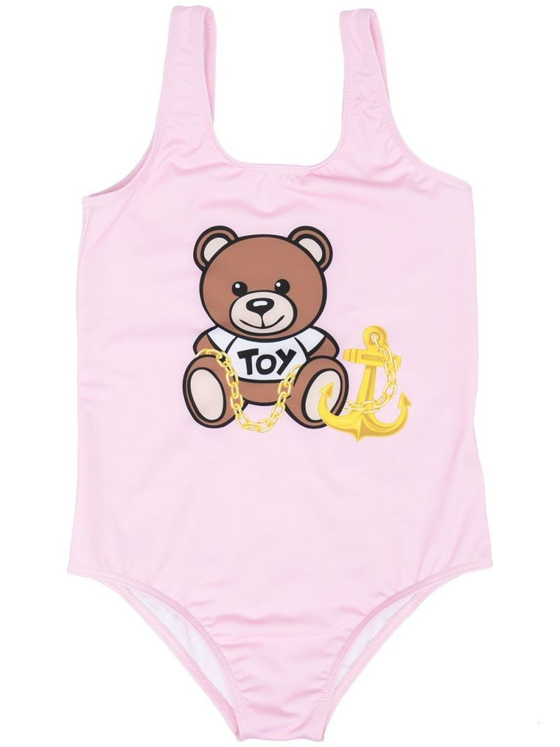 MOSCHINO KIDS: Moschino Teddy Bear print lycra one-piece swimsuit Color White_1