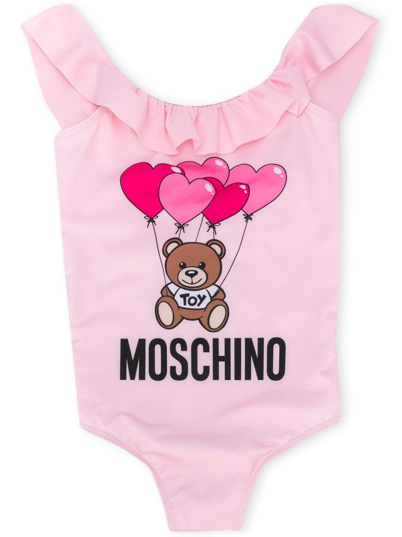 MOSCHINO KIDS: Heart Balloons Teddy Bear lycra one-piece swimsuit Color Pink_1