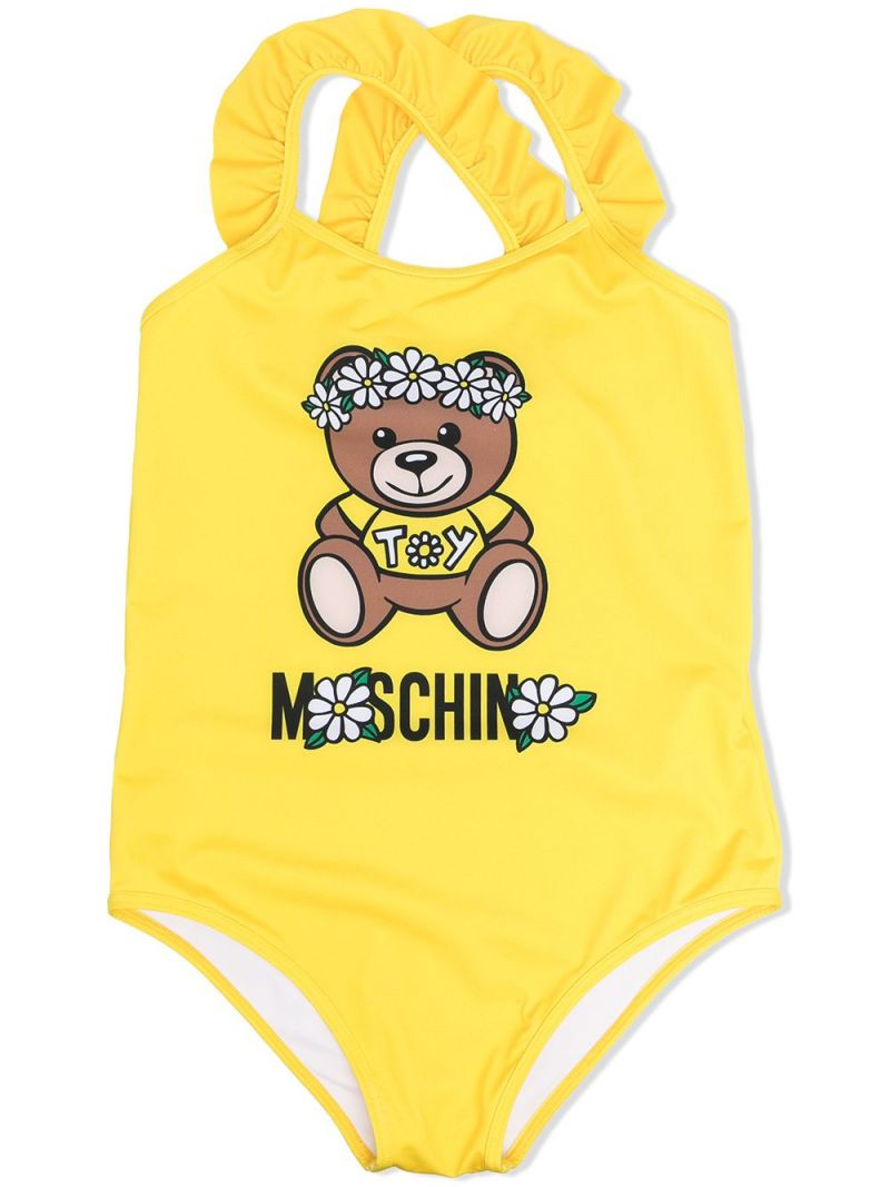 MOSCHINO KIDS: Daisy Teddy Bear lycra one-piece swimsuit Color Yellow_1