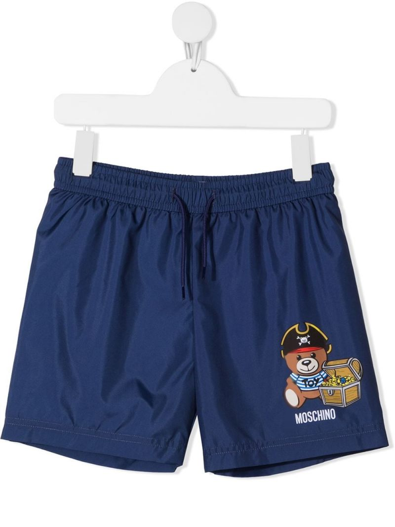 MOSCHINO KIDS: Pirate Teddy Bear nylon swim shorts Color Blue_1