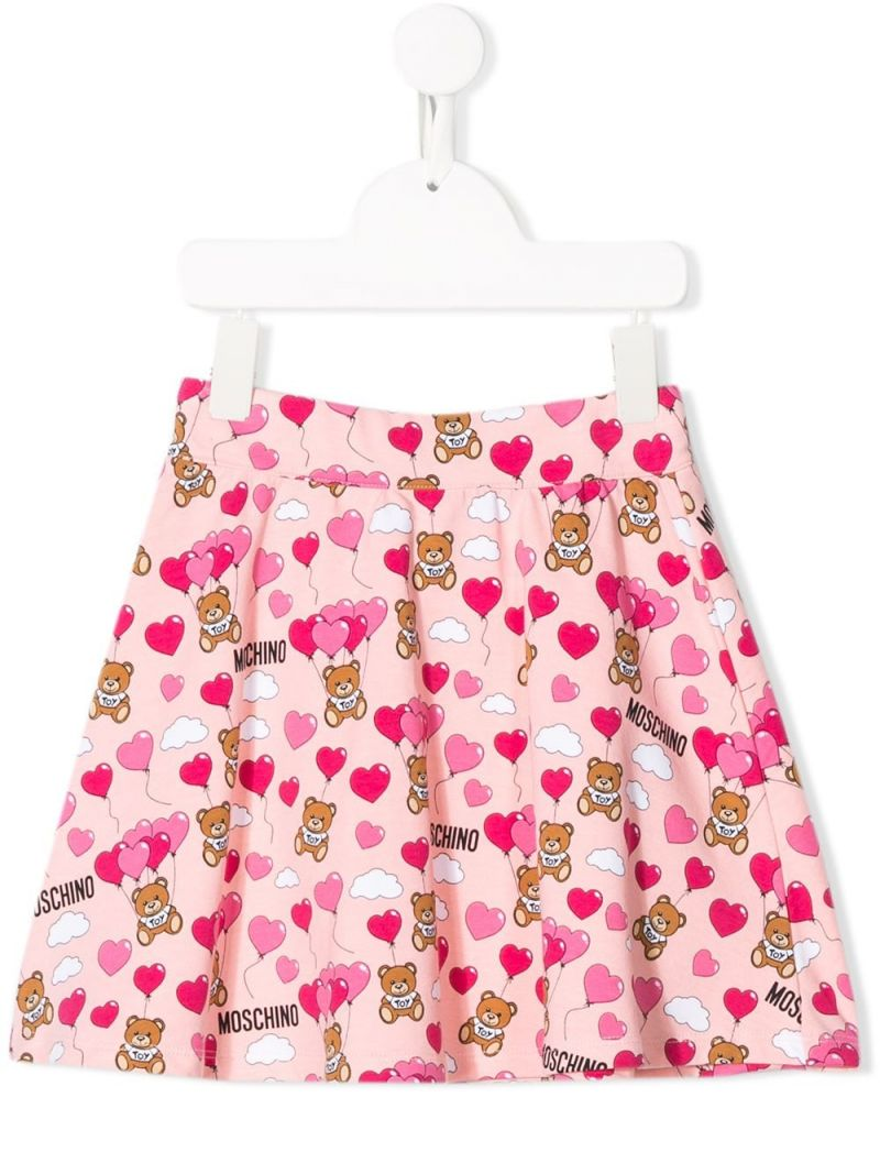 MOSCHINO KIDS: Heart Balloons Teddy Bear stretch cotton skirt Color Pink_1
