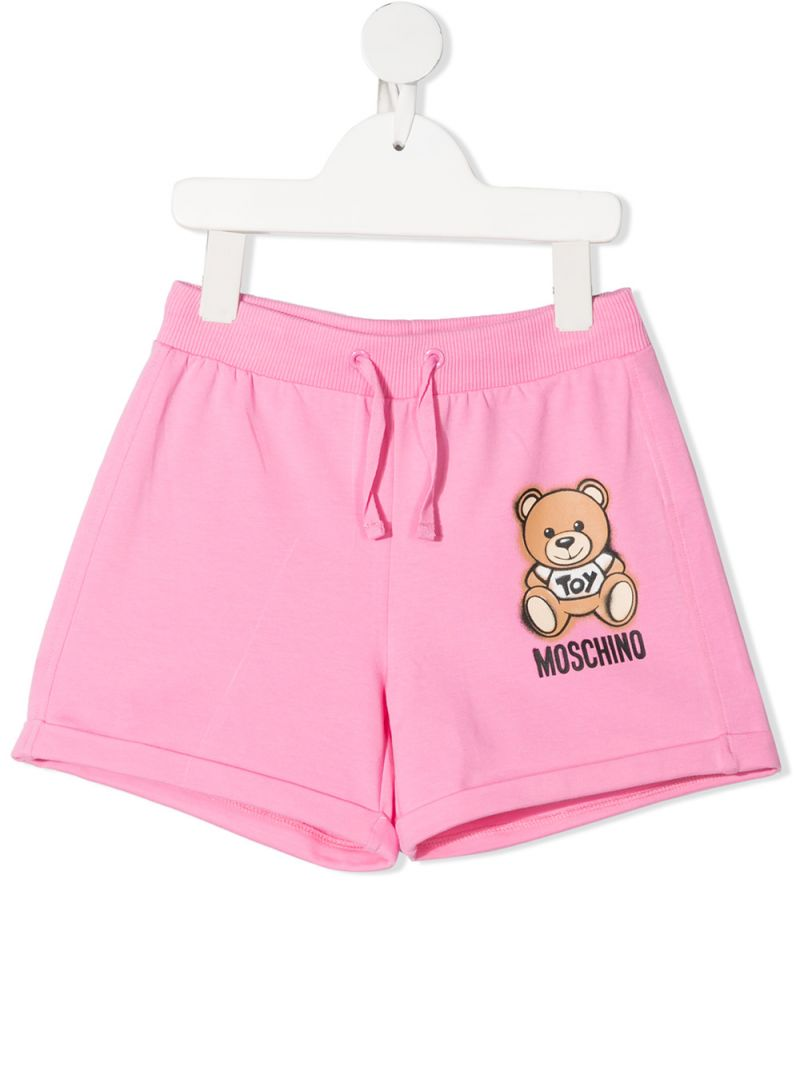 MOSCHINO KIDS: Moschino Teddy Bear print stretch cotton shorts Color Pink_1