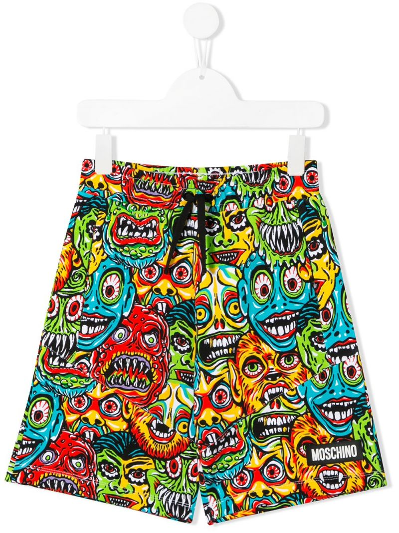 MOSCHINO KIDS: Moschino Monsters stretch cotton shorts Color Multicolor_1