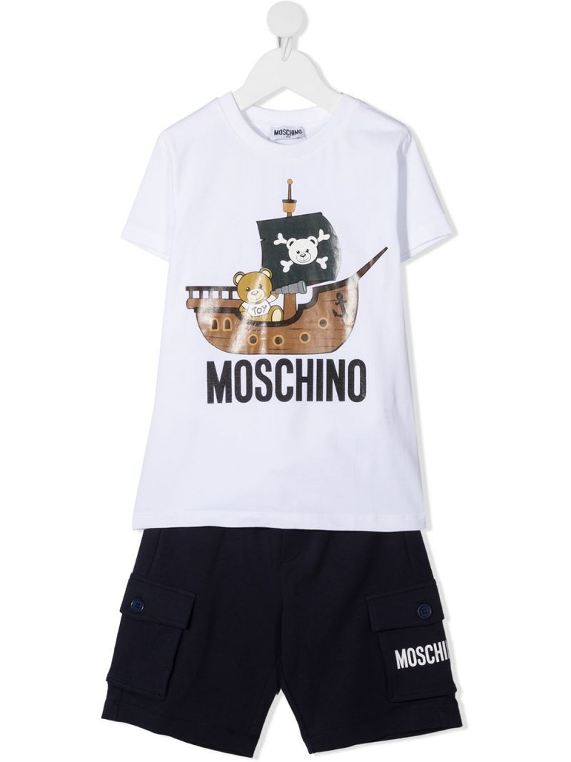 MOSCHINO KIDS: Pirate Teddy Bear stretch cotton t-shirt and shorts Color White_1