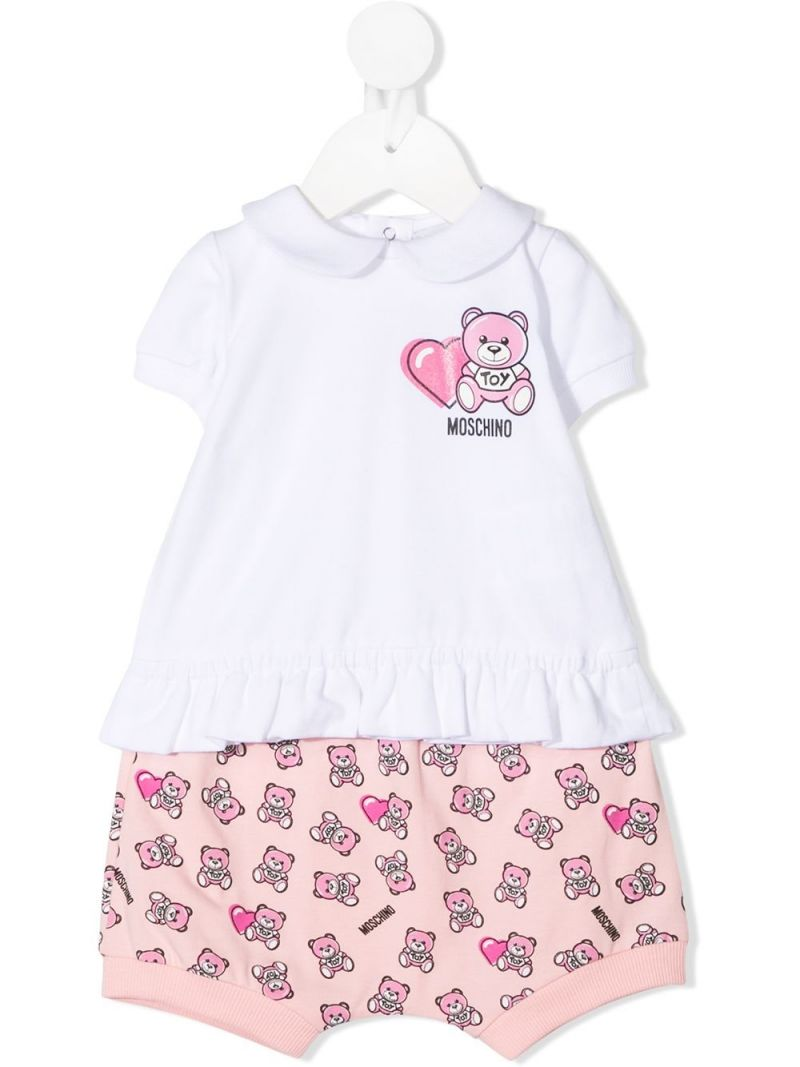 MOSCHINO KIDS: Moschino Teddy Bear print stretch cotton t-shirt and shorts Color Pink_1