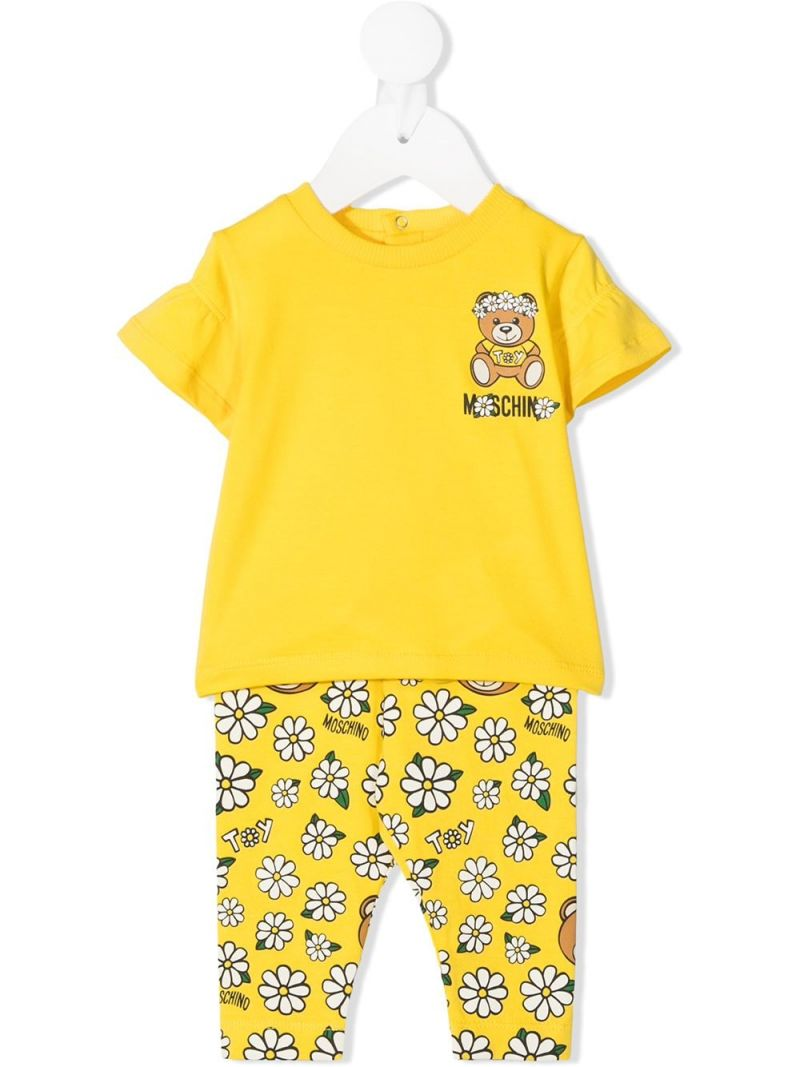 MOSCHINO KIDS: Daisy Teddy Bear stretch cotton t-shirt and leggings Color Yellow_1