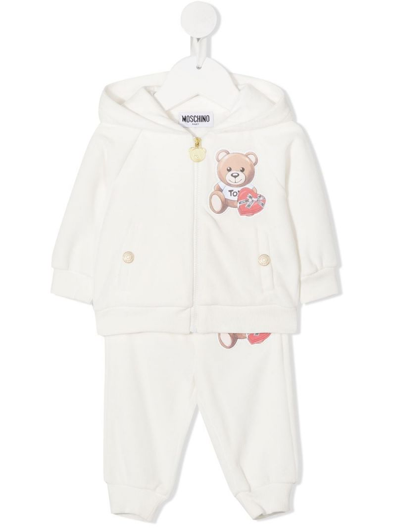 MOSCHINO KIDS: Chocolate Box Teddy Bear print chenille tracksuit Color Grey_1