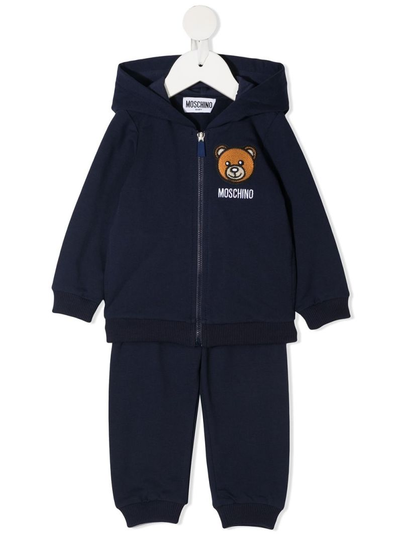 MOSCHINO KIDS: Moschino Teddy Bear stretch cotton tracksuit Color Blue_1