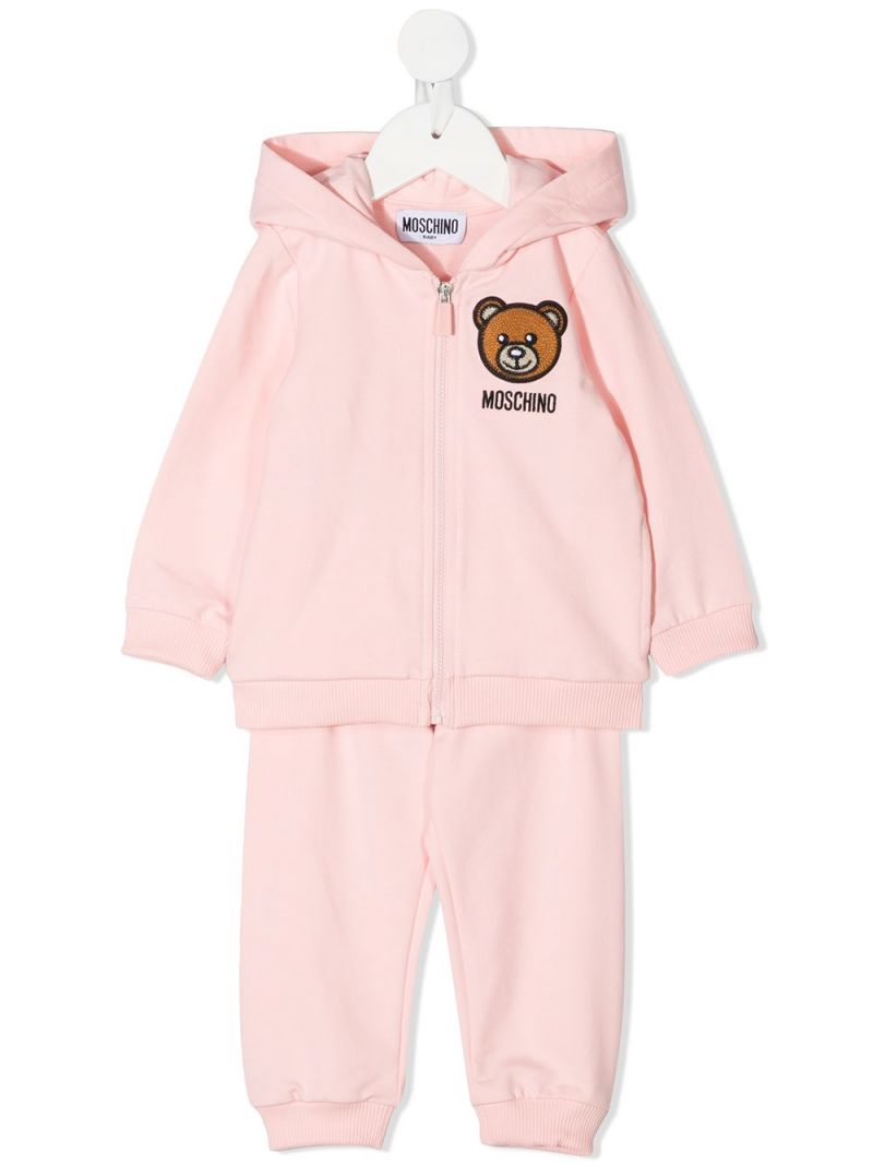 MOSCHINO KIDS: Moschino Teddy Bear stretch cotton tracksuit Color White_1