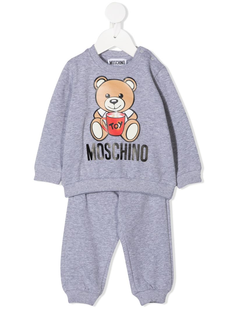 MOSCHINO KIDS: Mug Teddy Bear cotton blend tracksuit Color Grey_1