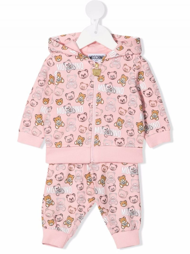 MOSCHINO KIDS: Teddy Bear print stretch cotton tracksuit Color Pink_1