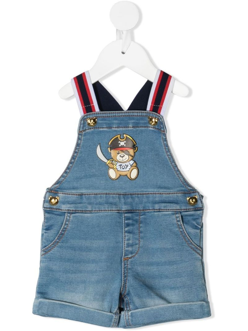 MOSCHINO KIDS: Pirate Teddy Bear print denim overall Color Blue_1