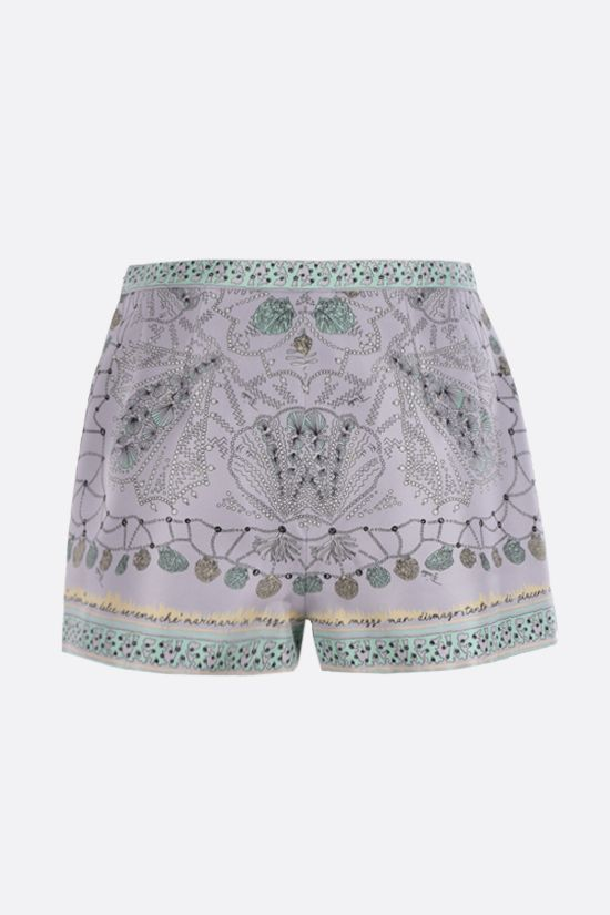 EMILIO PUCCI: seashell print silk shorts Color Purple_2