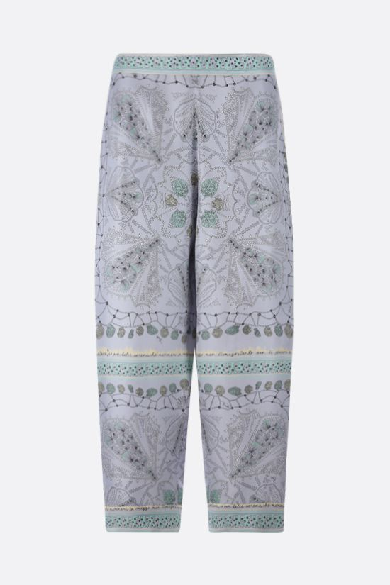 EMILIO PUCCI: seashell print silk cropped pants Color Purple_1