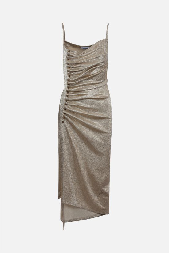 PACO RABANNE: lurex jersey draped dress Color Silver_1