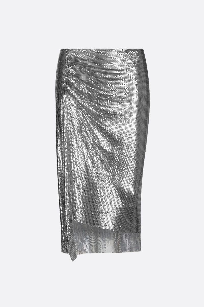 PACO RABANNE: metal mesh draped skirt Color Silver_1