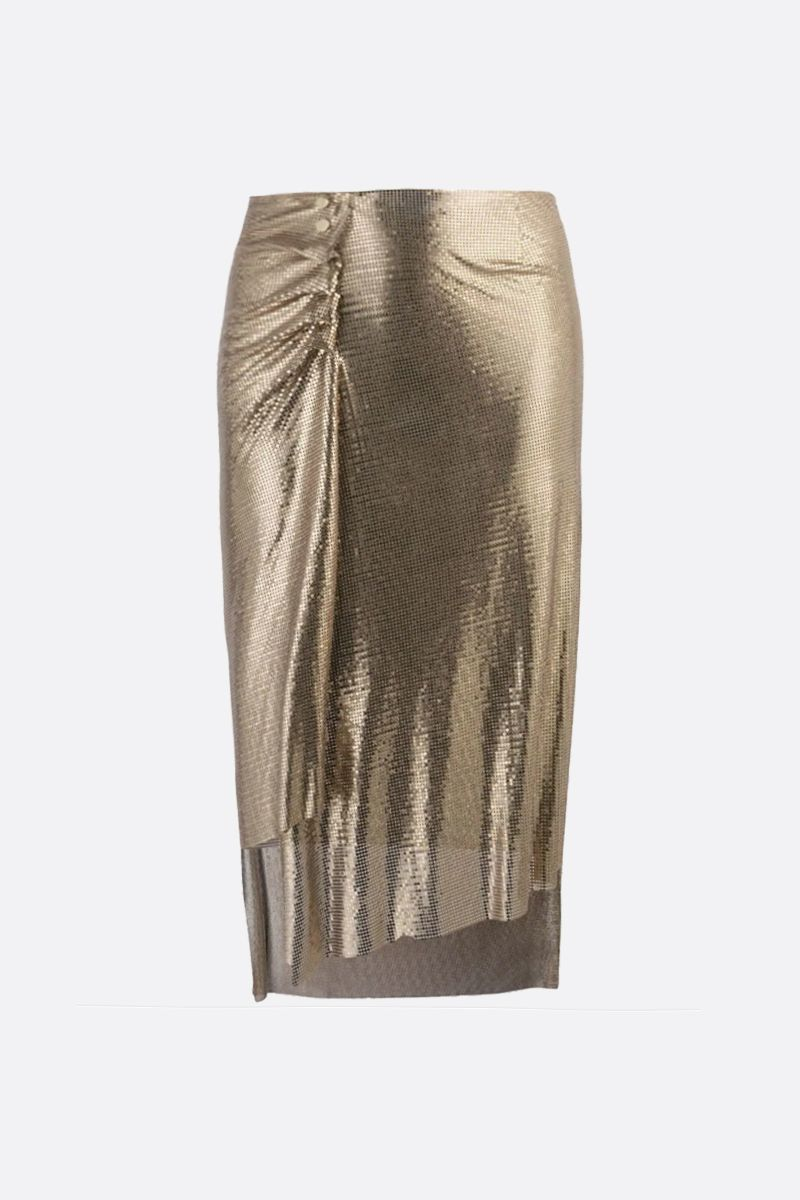 PACO RABANNE: metal mesh draped skirt Color Gold_1